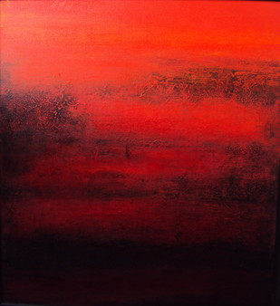 Untitled by P. Saraswati, Abstract Painting, Acrylic on Canvas, Red color