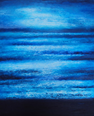 Untitled by P. Saraswati, Abstract Painting, Acrylic on Canvas, Blue color
