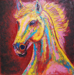Horse Portrait by Ashokkumar.B, Impressionism Painting, Oil on Canvas, Brown color