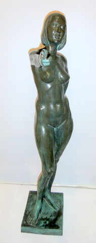 Untitled by Krishna Murari, Art Deco Sculpture, Bronze, Gray color