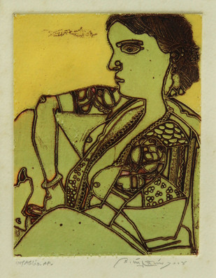 Lady by Laxma Goud, Expressionism Printmaking, Intaglio on Paper, Green color