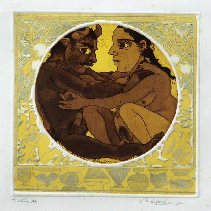 Untitled by Laxma Goud, Expressionism Printmaking, Intaglio on Paper, Beige color