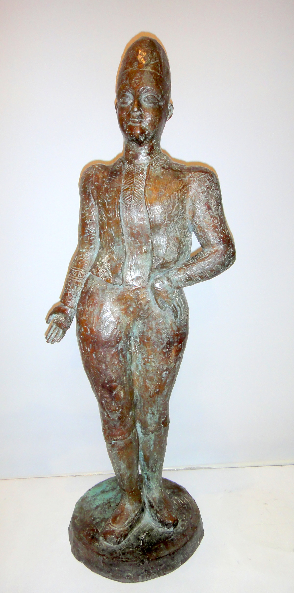 Onlooker by Sakti Burman, Art Deco Sculpture, Bronze, Gray color