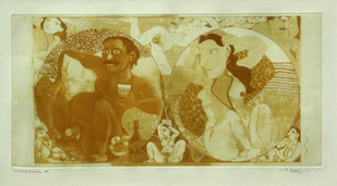 Untitled by Laxma Goud, Illustration Printmaking, Etching and Aquatint, Beige color