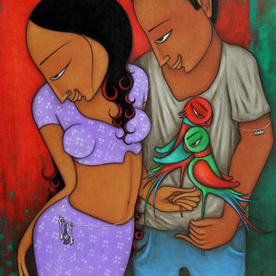 Couple by Hitendra Singh Bhati, Decorative Painting, Acrylic on Canvas, Brown color