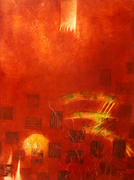 Untitled by Ajay Narayan, Abstract Painting, Acrylic on Canvas, Red color
