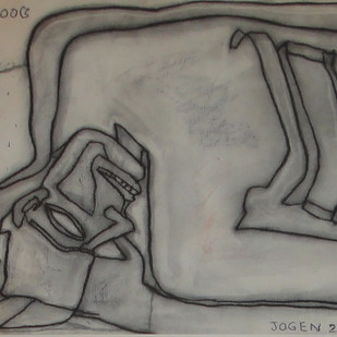 Untitled by Jogen Chowdhury, Illustration Drawing, Charcoal on Paper, Gray color