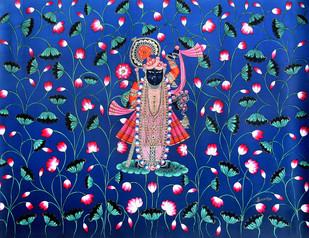 SHRINATH JI by Banwari Lal Jangid, Folk Painting, Acrylic on Canvas, Blue color