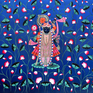 SHRINATH JI by Banwari Lal Jangid, Folk Painting, Acrylic on Canvas, Blue color