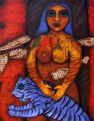 Untitled by Rameshwar Singh, Expressionism Painting, Acrylic on Canvas, Brown color