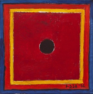 Vatayan by S H Raza, Geometrical Painting, Acrylic on Canvas, Red color