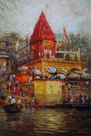 Varanasi 05 by Iruvan Karunakaran, Impressionism Painting, Oil on Canvas,