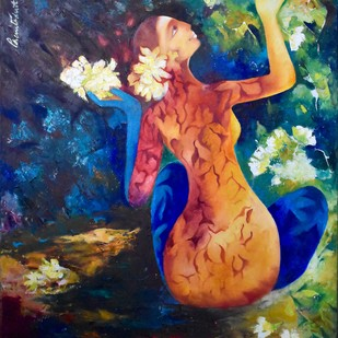 Lotus Prayers by Prenita Dutt, Impressionism Painting, Oil on Canvas, Blue color