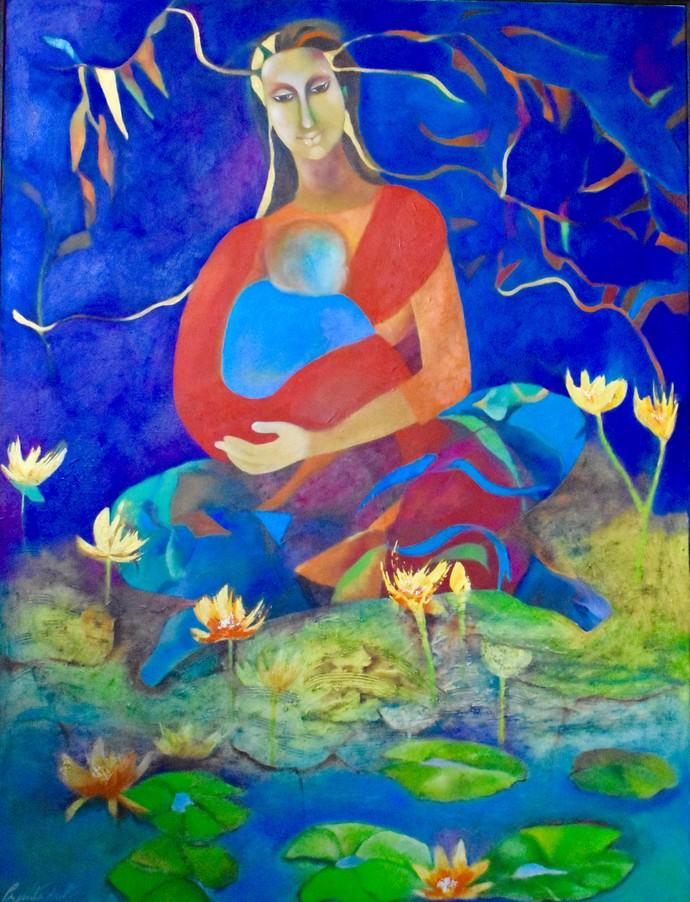 Lotus Lullabies by Prenita Dutt, Decorative Painting, Oil on Canvas, Blue color