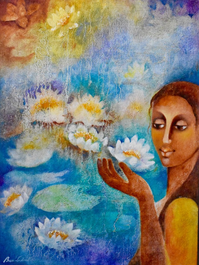 Lotus Whisperer by Prenita Dutt, Impressionism Painting, Oil on Canvas, Brown color