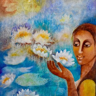 Lotus Whisperer Digital Print by Prenita Dutt,Impressionism