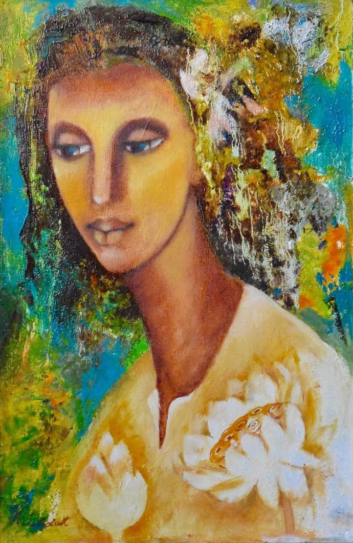 Lotus Eyes Digital Print by Prenita Dutt,Impressionism
