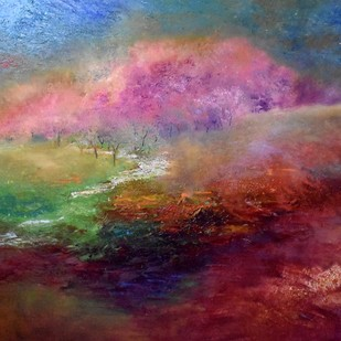 Spring in the Mountains! by Prenita Dutt, Impressionism Painting, Oil on Canvas, Brown color