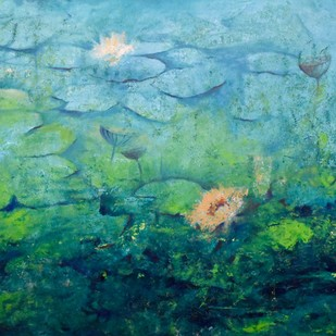 Lotus Lake Digital Print by Prenita Dutt,Impressionism