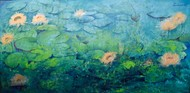 Lotus Lake by Prenita Dutt, Impressionism Painting, Oil & Acrylic on Canvas, Green color