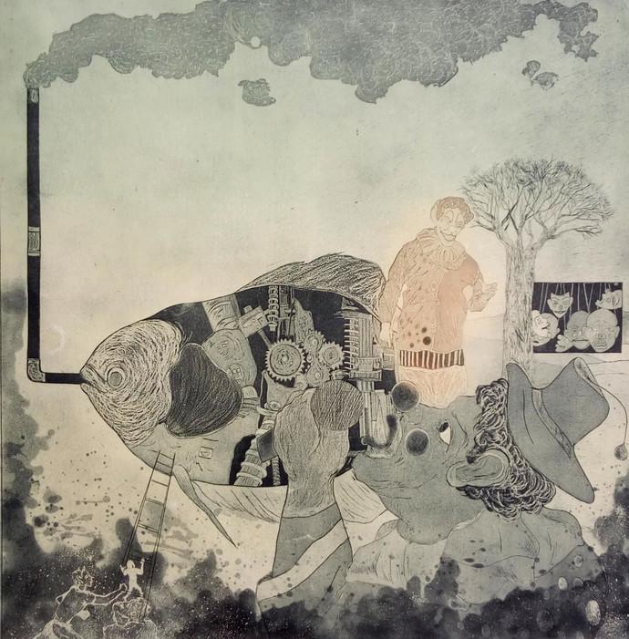 Jokar by kailash deka, Surrealism Printmaking, Etching on Paper, Beige color