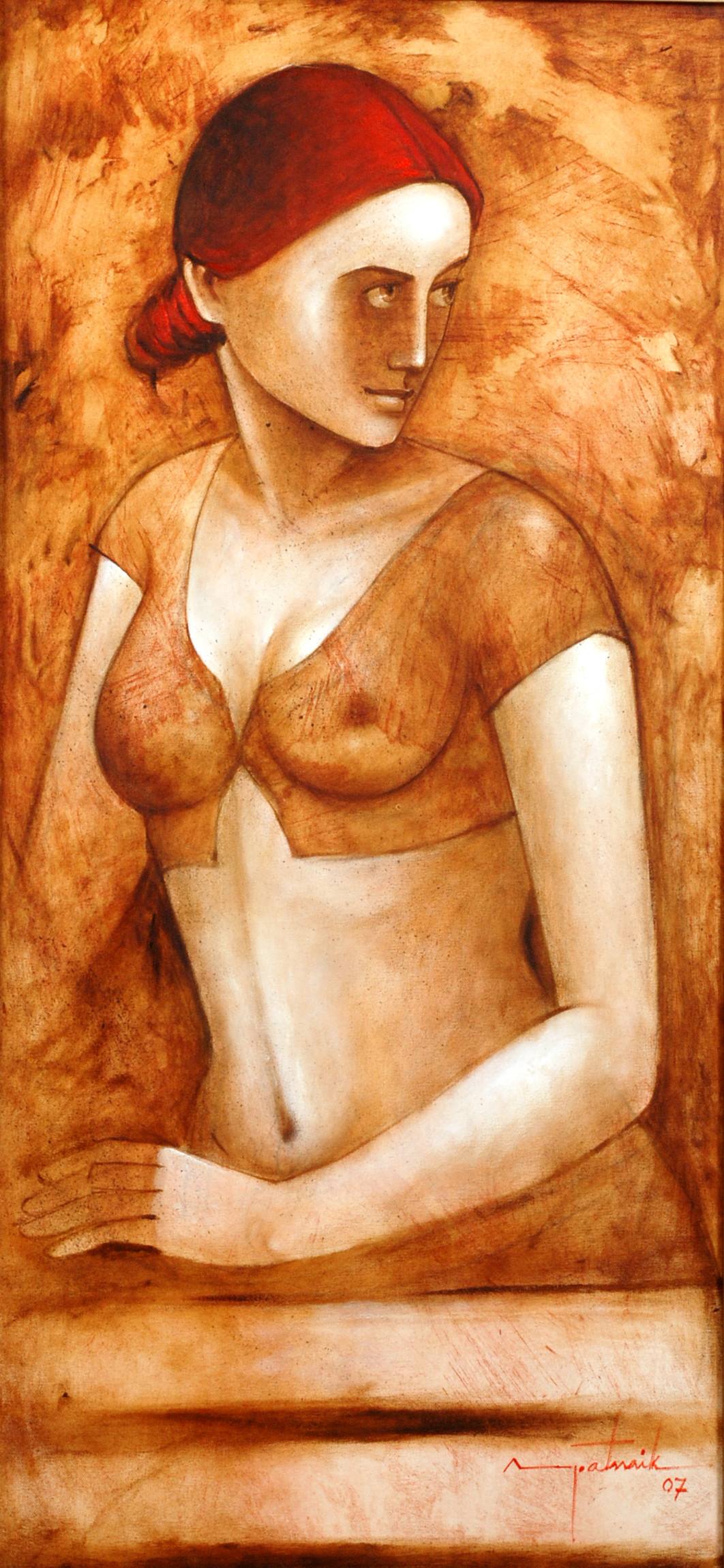 Woman 1 by Asit Kumar Patnaik, Impressionism Painting, Acrylic on Canvas, Brown color