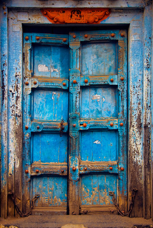 Old Door by Dipak Asole, Image Photography, Digital Print on Canvas, Blue color