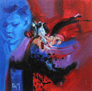 Me and the Japanese Doll III by Raj Maji, Impressionism Painting, Acrylic on Canvas, Blue color