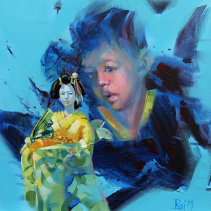 Me and the Japanese Doll V by Raj Maji, Impressionism Painting, Acrylic on Canvas, Blue color