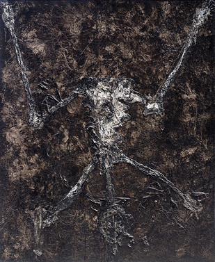 In Black by Jahangir Patel, Abstract Painting, Mixed Media on Canvas, Gray color
