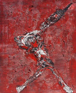 In Red by Jahangir Patel, Abstract Painting, Mixed Media on Canvas, Brown color
