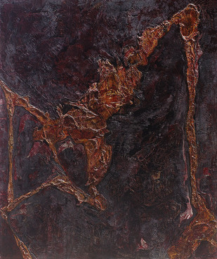Presence by Jahangir Patel, Abstract Painting, Mixed Media on Canvas, Blue color