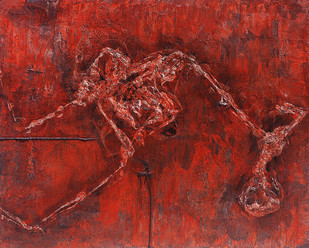 Structure by Jahangir Patel, Abstract Painting, Mixed Media on Canvas, Brown color