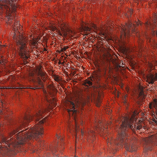 Structure by Jahangir Patel , Abstract Painting, Mixed Media on Canvas, Brown color