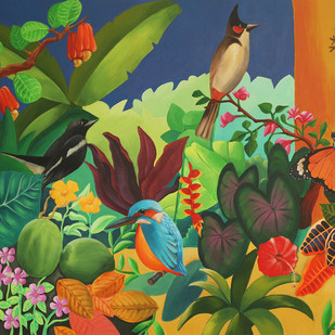 tropical sunday by Studio Zaki, Decorative Painting, Acrylic on Canvas, Green color