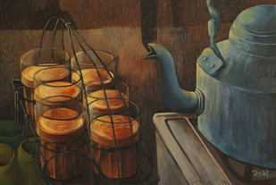 Evening Tea at Work by Studio Zaki, Decorative Painting, Acrylic on Canvas, Brown color