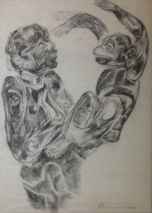 Untitled by Krishen Khanna, Impressionism Drawing, Charcoal on Paper, Gray color