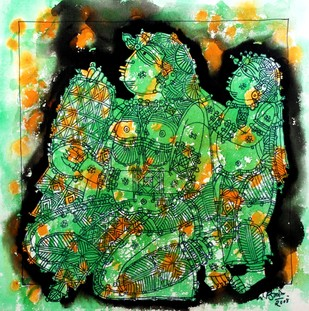 Untitled by G Raman, Impressionism Painting, Acrylic on Canvas, Green color
