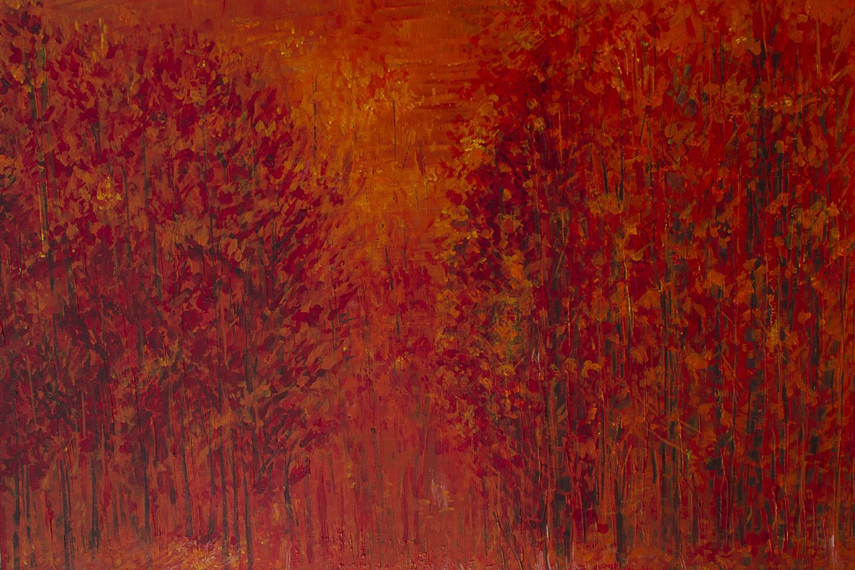 Flaming Woods by Aloke Lal, Impressionism Painting, Acrylic on Board, Brown color