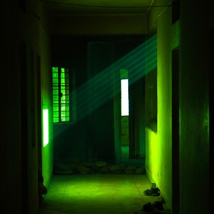 The rays of light 1 by Krishnendu Chatterjee, Image Photograph, Digital Print on Archival Paper, Green color