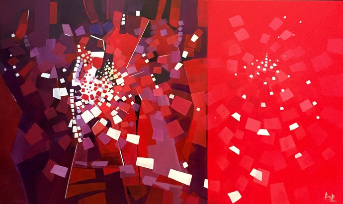 Energy II by Ella Prakash, Cubism Painting, Acrylic on Canvas, Red color