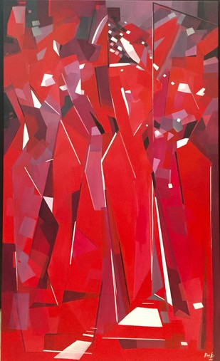 Our Beautiful Bodies by Ella Prakash, Cubism Painting, Acrylic on Canvas, Red color