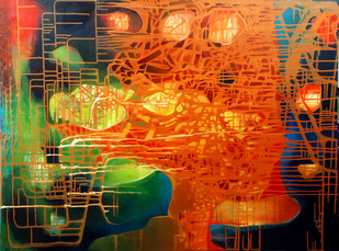 Untitled by Pankaj Kumar Singh, Abstract Painting, Acrylic & Ink on Canvas, Orange color