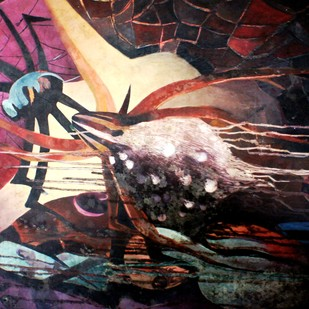 SPIDER by Pankaj Kumar Singh, Abstract Painting, Oil on Canvas, Brown color