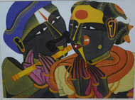 Untitled by Thota Vaikuntam, Traditional Painting, Acrylic on Canvas, Brown color