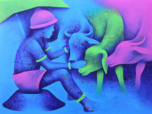 Athkheliya by Lakhan Singh Jat, Expressionism Painting, Acrylic on Canvas, Blue color