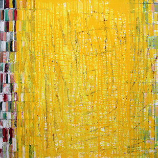 Untitled by Kalicharan Gupta, Abstract Painting, Acrylic on Canvas, Orange color
