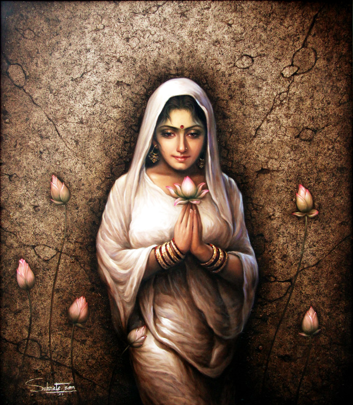 DEVOTION by Subrata Sen, Realism Painting, Acrylic on Canvas, Brown color