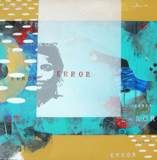Terror in Error by Puspen Roy, Pop Art Painting, Acrylic on Canvas, Cyan color