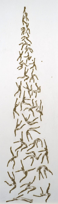 Smoldering halves...merging light by Trupti Patel, Minmalism Painting, Burnt Marks on Paper, Gray color